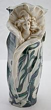 Royal Dux Porcelain Vase w/ Woman / Flower