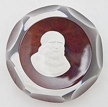 Cristal D'Albret Cameo Cut Crystal Paperweight