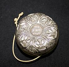 Art Nouveau Silver Covered Yoyo w/ Engraved Detail