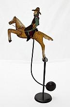 Arts & Crafts Iron Kinetic Sculpture Horse & Rider