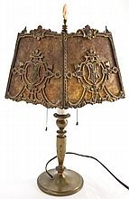 Arts & Crafts Lamp w/ Mica Shade & Metal Frame