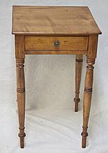 19thC Early Sheridan Maple Candle Stand w/ Drawer
