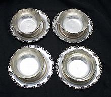 4 Sterling Silver Bowls w/ Matching Under Plates