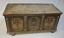 17th/18th C Painted & Carved Austrian Trunk