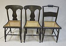 3 Federal Period Chairs w Cane Seats Hand Painted