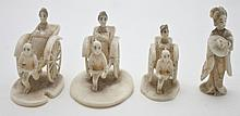 4 Chinese Ivory Miniatures Women in Rickshaws