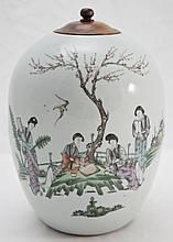 Large Oriental Hand Painted Ginger Jar w/ Wooden L