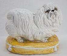 1950's Italian Glazed Terracotta Shih tzu w Pillow