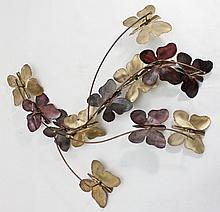 1970's Copper & Brass Wall Sculpture w Butterflies
