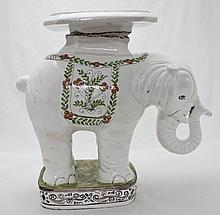 1950's Italian Glazed Terracotta Elephant  Stand