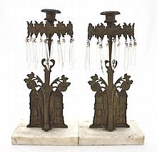 19thC Marble Dore Bronze Cathedral Candle holders
