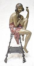 Art Deco Bronze Flapper Girl On Stool Semi-Nude