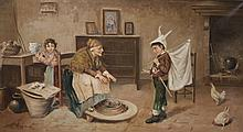 19thC Painting Grandmother in Farmhouse w Children