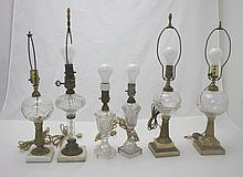 6 Whale Oil Lamps w/ Clear Glass & Marble Bases