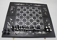 Mother of Pearl Decorated Chess & Backgammon Set