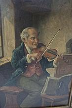 19thC Painting O.C. Violinist by Alexander Austen