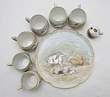 Limoges Porcelain Painted Coffee or Dessert Set
