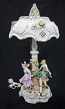 Dresden Porcelain Figural Lamp, Floral Decorations