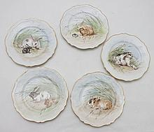 19thC Austrian Hand Painted Rabbit Luncheon Plates