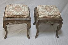 2 Country French Upholstered Stools