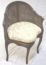1920's Louis XV Cane & Fruitwood Corner Chair
