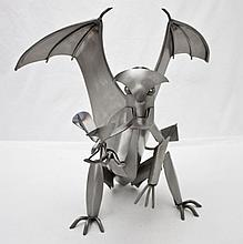 Welded Steel Gargoyle w Butterfly By Adam Homan