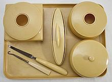 1920s French Ivory Pyralin (Celluloid) Dresser Set