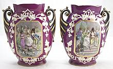 Pair Of Old Paris Hand Painted Vases