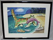 Large Cat & Fish Lithograph w Boats and Sea