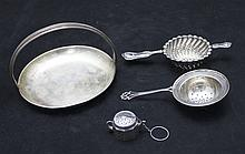 2 Sterling Silver Tea Strainers w/ Dish & Infuser