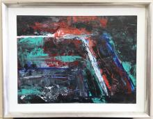 abstract oil on canvas signed painting