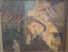 Antique Style Middle Eastern Oil on Board Painting