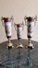European Style Porcelain & Gilt Bronze Vase Set