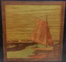 A J Rowley Marquetry Panel
