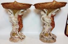 Royal Dux Art Nouveau Porcelain Figural Compotes