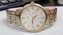 Guess large size mens two tone multi function watch