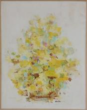 Katherine Dreier vintage abstract floral painting with frame 37 3/8