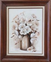 Frances Hancock floral still life oil on canvas framed painting 32.50