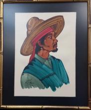 antonio Ruiz signed watercolor 13.75