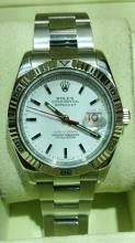 ROLEX TURN-O-GRAPH MENS SS WATCH WITH 18K WG ROTATING BEZEL WITH BOX & PAPERS F SERIES