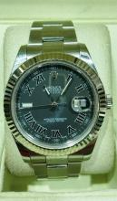 ROLEX DATEJUST LARGE SIZE NEW STYLE SS MENS WATCH WITH 18K WG BEZEL WITH BOX & PAPERS