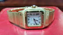 CARTIER SANTOS 18K YG ALL GOLD AUTOMATIC LARGE SIZE MENS WATCH