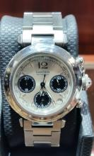 CARTIER PASHA SS LARGE SIZE MENS CHRONOGRAPH WATCH