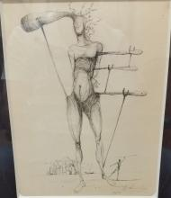 SALVADOR DALI SIGNED AND DATED 1956 INK ON PAPER 9.75