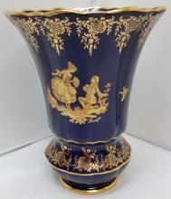 Limoges Imperial Porcelain Cobalt Blue Vase 7 7/8