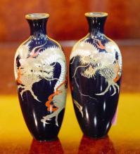 A Pair Of Antique enamel Vases