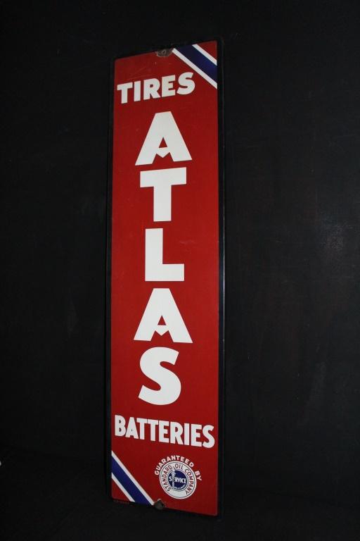 Porcelain Standard Oil Atlas Tires Batteries Sign