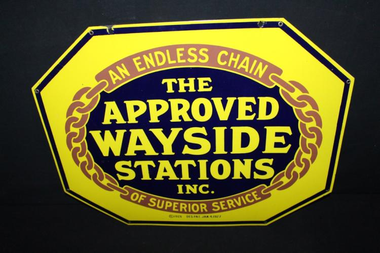 Porcelain 1927 Endless Chain Wayside Station Sign