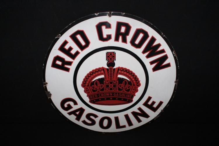 Porcelain Red Crown Gasoline Sign Double Sided