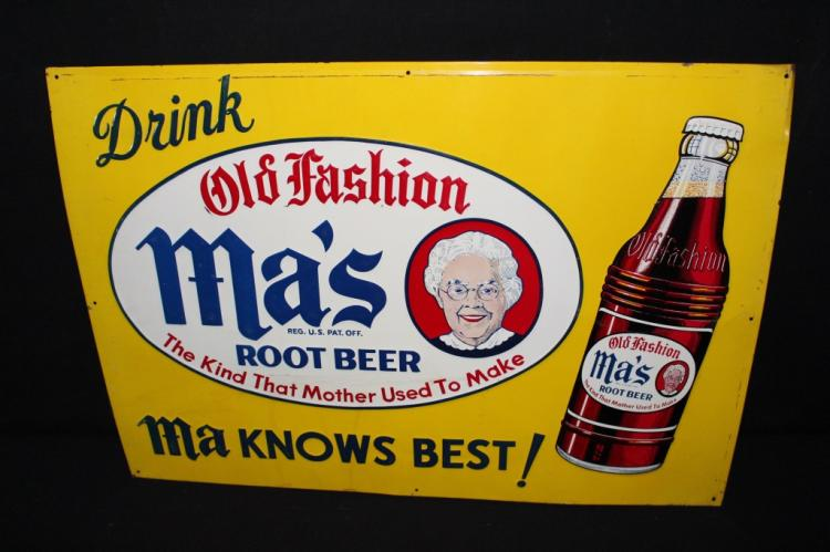 Ma's Old Fashioned Root Beer Soda Pop Sign